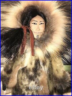 Handmade Inupiaq Eskimo Doll- Made By Well Known Alaska Native Artist Kathy Ward