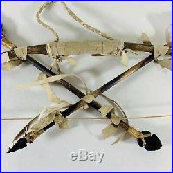 Handmade Native American Navajo Made Rawhide Beaded Bow & Arrow Set 22 Art