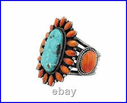 Hemerson Brown, Bracelet, Kingman Turquoise, Spiny Oyster, Navajo Made, 7