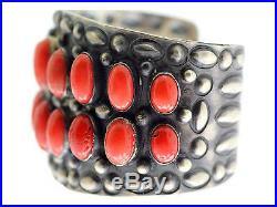 Henry Sam, Bracelet, Mediterranean Coral, 18 Stones, Silver, Navajo Made