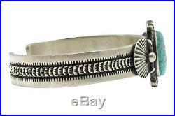 Herman Smith, Bracelet, Kingman Turquoise, Sterling Silver, Navajo Made, 6 3/4'