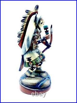 Hopi Native American Handmade Buffalo Kachina Vintage Made Of Cottenwood-Wagner