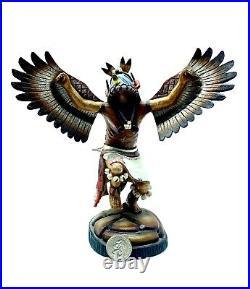 Hopi Native American Handmade Eagle Kachina Vintage Made Of Cottenwood Wagner