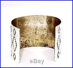Huge Beautiful Native American Hand Made Sterling Silver Cuff Bracelet 130 Grams