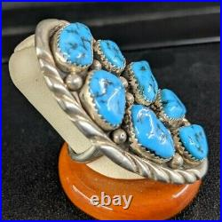Huge Native American Hand Made Sterling Silver & Morenci Turquoise Ring Sz 9 1/2