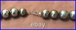 Huge Vintage Sterling Silver Navajo Pearls Bench Made Beads Necklace 31 1/4 Inch
