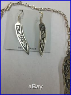 Hyson Craig Native American Navajo Hand Made Sterling Silver Over Lay Necklace