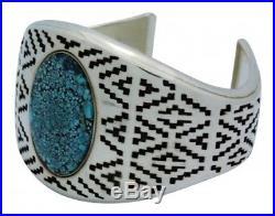 JR Tolino, Bracelet, Kingman Turquoise, Shadowbox, Silver, Navajo Made, 6.5 in