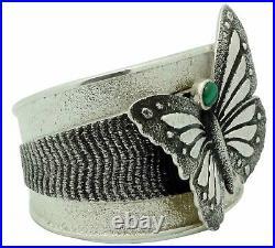 Kelsey Jimmie, Bracelet, Butterfly Design, Malachite, Tufa, Navajo Made, 6 1/2