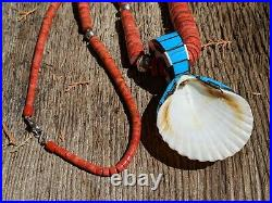 Kewa Shell Turquoise Necklace Santo Domingo Native American Jewelry Hand Made