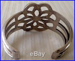 LARGE Old Pawn Sterling Silver Sandcast Blossom Design Native Artist Made Cuff