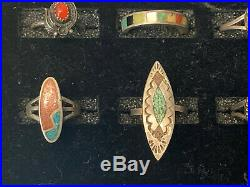 LOT 25 NATIVE AMERICAN MADE STERLING SILVER TURQUOISE JEWELRY 2.5oz Total Weight