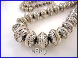 LRG Navajo Hand Stamped Bench Made 925 Sterling Silver Graduated Bead Necklace J
