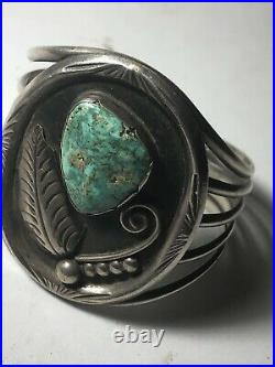 L Platero Native American Indian Navajo SS Turquoise Large Bracelet Hand Made