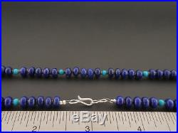 Lapis Turquoise Choker Native American Made by Marcella Teller 19 long