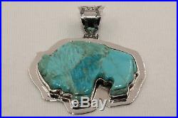 Large Hand Carved Navajo Indian Made Turquoise & Sterling Silver Buffalo Pendant