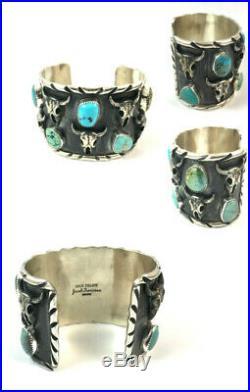 Large Heavy well made Navajo Sterling Silver Turquoise Bull Skull Bracelet