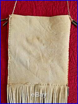 Large Native American Indian made Quillwork an antique beaded Brain tanned bag
