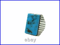 Large Native American Made Sterling Silver Turquoise Ray Jack Ring Size 12
