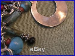 Lavish Hand Made Sterling, Sugilite, Turquoise, Native American Charm Bracelet