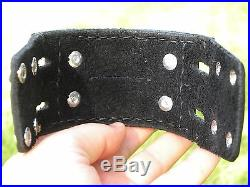 Leather cuff Bracelet made by Navajo Bolo Vintage Sterling silver Ned Begay Sr