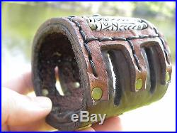 Leather cuff Bracelet made by Vintage Navajo Sterling silver bow wrist guard