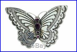 Lee Charley, Pin, Pendant, Butterfly, Spiny Oyster Shell, Silver, Navajo Made, 2