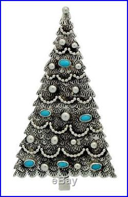 Lee Charley, Pin, Pendant, Christmas Tree, Turquoise, Silver, Navajo Made, 3.5in