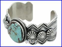 Leon Martinez, Bracelet, Pilot Mountain Turquoise, Large Stone, Navajo Made, 6.25