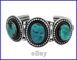 Leon Martinez, Bracelet, Turquoise Mountain, Sterling Silver, Navajo Made, 6.25