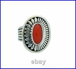 Leonard Nez, Ring, Mediterranean Coral, Silver Overlay, Navajo Made, 7 ½