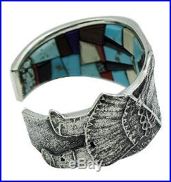 Lester James, Bracelet, Apache Crown Dancer, Inlay, Silver, Navajo Made, 6.5in