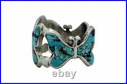 Lester James, Bracelet, Butterflies, Multi Stone Inlay, Tufa, Navajo Made, 6 7/8