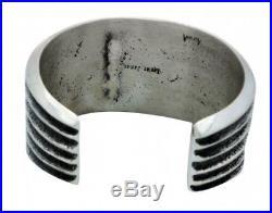Lester James, Bracelet, Mediterranean Coral, Sterling Silver, Navajo Made, 6.5in