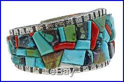Lester James, Bracelet, Multi Stone Inlay, Tufa Cast, Silver, Navajo Made, 6.5in