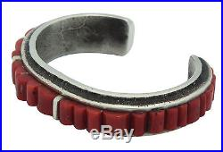 Lester James, Tufa Cast Bracelet, Mediterranean Coral, Silver, Navajo Made, 6.5
