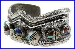 Lester James, Tufa Cast Bracelet, Navajo Yei, Sterling Silver, Navajo Made, 6.75