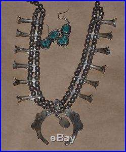 Magnificent 100% Hand made Squash Blossom Necklace and Earrings by Wilson Jim