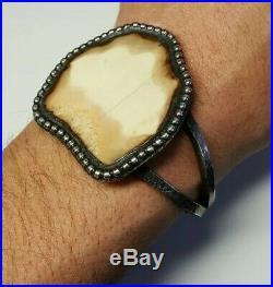 Massive Alaska Made Sterling Silver Scrimshaw Bracelet
