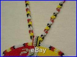Medicine Wheel Medallion Native American Made Beaded Regalia Pow Wow Necklace