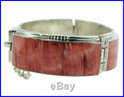 Melvin Francis, Eugene Chee, Link Bracelet, Red Spiny Oyster, Navajo Made, 6.75