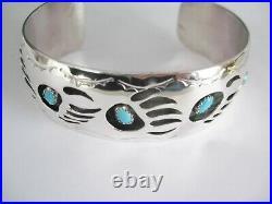 Men's Bear Paw Cuff Bracelet Fits 7 To 8.5 Wrist Native Made Set In S. S. B120