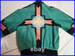Michael Hoban North Beach Tribal Aztec Leather Jacket Size 40 Hobo Made In USA
