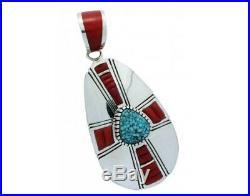 Michael Perry, Pendant, Kingman Turquoise, Mediterranean Coral, Navajo Made, 3.4