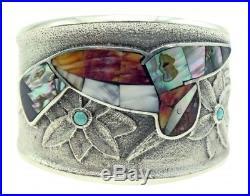 Monty Claw, Tufa Cast Bracelet, Hummingbird, Multi Stone, Navajo Made, 6.5