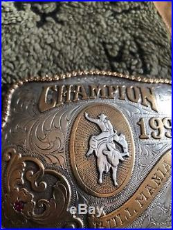 NATIVE AMERICAN Made Vintage Champion Bull Rider Riding Trophy Buckle PBR PRCA
