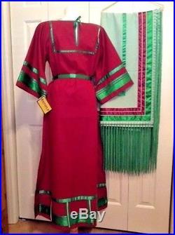 Native American Regalia Nakoda Made Pow Wow Ribbon Dress & Shawl Set 14-16