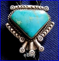 NATIVE AMERICAN STERLING Silver TURQUOISE CAB Stamped HAND MADE Vintage BOLO TIE