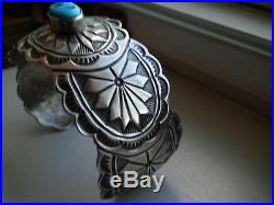NAVAJO HEAVILY STAMPED CUFF WithBEAUTIFUL TURQUOISE BEAUTY MADE BY TIM GUERRO