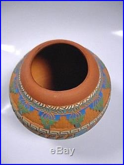 NAVAJO Hand Made Etched & Painted Pottery Signed L. King from Private Collection
